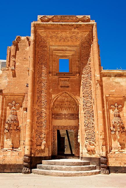 Entrance to the 18th Century Ottoman architecture of the Ishak Pasha Palace (Turkish: İshak Paşa Sarayı) ,  Ağrı province of eastern Turkey.