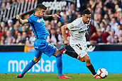 17th March 2019, Mestalla Stadium, Valencia, Spain; La Liga football, Valencia versus Getafe; Francis Coquelin of Valencia CF goes past the challenge of Mauro Arambarri of Getafe