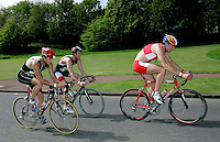 13 MAY 2006 - EDINBURGH, UK - Jonathan Wills (left) and Kairn Stone (centre) follow Tom Lowe (right) during the Elite Men's British Duathlon Championships (PHOTO (C) 2006 NIGEL FARROW)