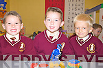 Having fun on their first day at Holy Family NS Tralee on Monday were l/r Ronan Ballard, Dylan Hurly and Kacper Tusinski.................................................................................................................................................................................................................................................................. ............