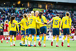 ****BETALBILD**** <br /> Stockholm 2015-04-08 Fotboll Landskamp Damer , Sverige - Danmark :  <br /> Sveriges Lotta Schelin gratuleras av Caroline Seger och Nilla Fischer med lagkamrater under matchen mellan Sverige och Danmark <br /> (Photo: Kenta J&ouml;nsson) Keywords:  Sweden Sverige Denmark Danmark Landskamp Dam Damer Tele2 Arena Stockholm  jubel gl&auml;dje lycka glad happy