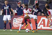 Foxborough, Massachusetts - April 1, 2016:  The New England Revolution (blue and white) beat the New York Red Bulls (red and white) 1-0 in a Major League Soccer (MLS) match at Gillette Stadium.