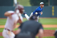 Duke Blue Devils relief pitcher Karl Blum (24) delivers a pitch to the plate against the Florida State Seminoles in the first semifinal of the 2017 ACC Baseball Championship at Louisville Slugger Field on May 27, 2017 in Louisville, Kentucky. The Seminoles defeated the Blue Devils 5-1. (Brian Westerholt/Four Seam Images)