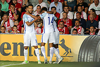 Jacob Murphy of England is congratulated after scoring the second goal during England Under-21 vs Poland Under-21, UEFA European Under-21 Championship Football at The Kolporter Arena on 22nd June 2017