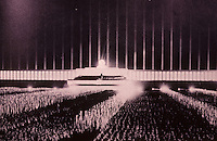 "Nazi Art: The Cathedral of Light, Nuremberg. ""Like being in a Gothic Cathedral""...Speer.  William A. Taylor, THE WORD IN STONE.  Reference only."