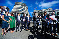 Nik Green speaks, right. Semi-automatic weapons ban and firearms advertising regulation petitions at Parliament in Wellington, New Zealand on Thursday, 21 March 2019. Photo: Dave Lintott / lintottphoto.co.nz