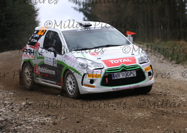 Desi Henry - Damien Duffin at Junction 7 of Special Stage 5 Swanley on the Coltel Granite City Rally 2013, Round 3 of the RAC MSA Scottish Rally Championship  sponsored by ARR Craib Transport Limited which was organised by Aberdeen & District Car Club and was based in Altens, Aberdeen on 20.4.13.