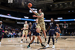 Gina Conto (5) of the Wake Forest Demon Deacons drives to the basket for a lay-up during second half action against the Notre Dame Fighting Irish at the LJVM Coliseum on December 31, 2017 in Winston-Salem, North Carolina.  The Fighting Irish defeated the Demon Deacons 96-73.  (Brian Westerholt/Sports On Film)