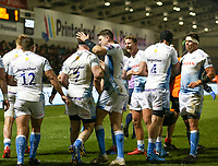 7th February 2020; AJ Bell Stadium, Salford, Lancashire, England; Premiership Cup Rugby, Sale Sharks versus Saracens;  Ben Curry of Sale Sharks is congratulated by team mates after scoring Sale's third try in the first half