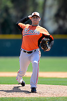 Baltimore Orioles pitcher Miguel Gonzalez #50 during a minor league Spring Training game against the Boston Red Sox at Buck O'Neil Complex on March 25, 2013 in Sarasota, Florida.  (Mike Janes/Four Seam Images)