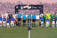 PASADENA, CA - AUGUST 4: The referees and World Cup Trophy stand during player introductions during a game between Ireland and USWNT at Rose Bowl on August 3, 2019 in Pasadena, California.