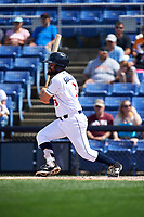 Binghamton Rumble Ponies second baseman Luis Guillorme (3) follows through on a swing during a game against the Hartford Yard Goats on July 9, 2017 at NYSEG Stadium in Binghamton, New York.  Hartford defeated Binghamton 7-3.  (Mike Janes/Four Seam Images)