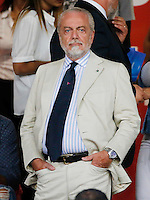 Aurelio De Laurentis before  the friendly soccer match,between SSC Napoli and Onc Nice      at  the San  Paolo   stadium in Naples  Italy , August 01, 2016<br />  during the friendly soccer match,between SSC Napoli and Onc Nice      at  the San  Paolo   stadium in Naples  Italy , August 02, 2016