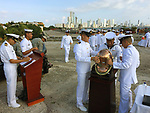 Colombia, Cartagena de Indias -- July 21, 2017 -- Centro histórico - colonial walled centre; here, marine soldiers prepare for a public event, with Bocagrande in the background -- architecture, tourism -- Photo © HorstWagner.eu