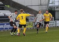 Ross Meechan takes on Liam Dick as Sander Puri and Luke Leahy run alongside in the St Mirren v Falkirk Clydesdale Bank Scottish Premier League Under 20 match played at St Mirren Park, Paisley on 30.4.13. .