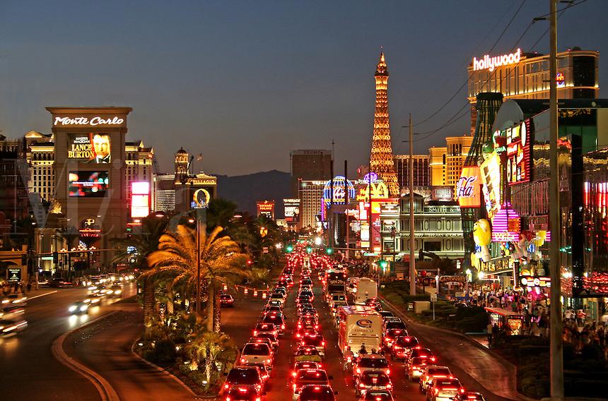 Night lighting night traffic  on The Strip Las Vegas Nevada