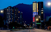 BOGOTA, COLOMBIA - APRIL 25: The Colpatria tower is seen with the colors of the Colombian flag on an empty street in Bogota, on April 25, 2020. Colombian government extended the mandatory preventive quarantine until May 11 on an effort to prevent the spread of Covid-19 pandemic that in the country has infected 5,142 people and caused 233 deaths. (Photo by John Vizcaino/VIEWpress)