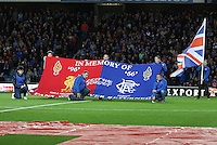 Flag in memory of the Hillsborough and Ibrox disasters in the Rangers v Queen of the South Quarter Final match in the Ramsdens Cup played at Ibrox Stadium, Glasgow on 18.9.12.