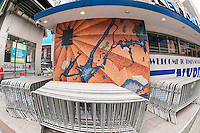 Mosaic map (eastern wall) of New York by the artist Edward Meshekoff adorns the exterior wall of the NYPD substation in Times Square in New York seen on Thursday, March 10, 2016. With the renovation in store for the substation the city is pondering where and how to preserve the mosaics. Prior to its life as a substation the small building was the Times Square Information Center opened in 1957 with the police taking residency in 1993. (© Richard B. Levine)