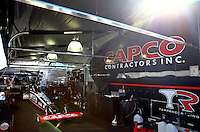 Sept. 22, 2013; Ennis, TX, USA: The pit area of NHRA top fuel dragster driver Billy Torrence during the Fall Nationals at the Texas Motorplex. Mandatory Credit: Mark J. Rebilas-