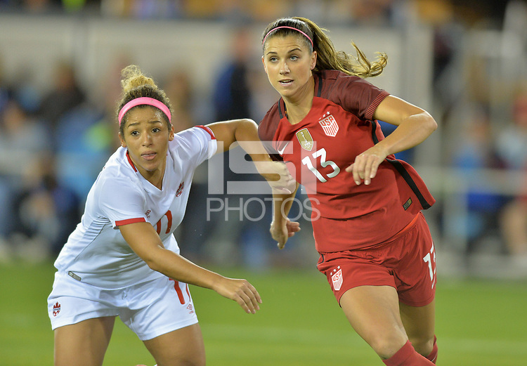 San Jose, CA - Sunday November 12, 2017: Desiree Scott, Alex Morgan during an International friendly match between the Women's National teams of the United States (USA) and Canada (CAN) at Avaya Stadium.