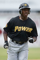 Quincy Latimore #22 of the West Virginia Power in action versus the Hickory Crawdads at L.P. Frans Stadium June 21, 2009 in Hickory, North Carolina. (Photo by Brian Westerholt / Four Seam Images)