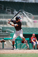 GCL Orioles shortstop Andrew Fregia (19) at bat during a game against the GCL Red Sox on August 9, 2018 at JetBlue Park in Fort Myers, Florida.  GCL Red Sox defeated GCL Orioles 10-4.  (Mike Janes/Four Seam Images)