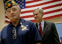 11/10/04...... Gary Wilcox/staff..... Albert F. Sciarratta of Jacksonville is a Army Veteran who got a Medal for his service the Normandy Invasion of World War 2 at the annual Fourth Congressional District Medal Ceremony at Naval Station Mayport. U.S. Rep. Ander Crenshaw, R-Fla., presented 100 medals to Veterans of Normandy and the Korean Wars.