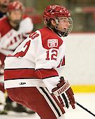 Colin Moore (Harvard - 12) - The visiting Quinnipiac University Bobcats defeated the Harvard University Crimson 3-1 on Wednesday, December 8, 2010, at Bright Hockey Center in Cambridge, Massachusetts.