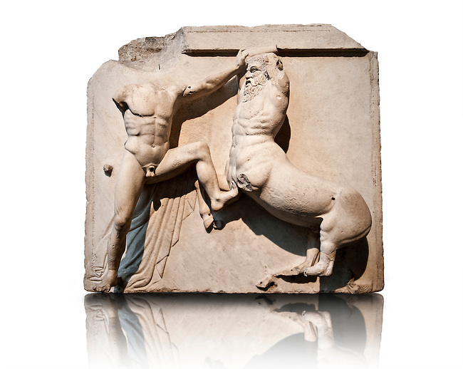 Sculpture of Lapiths and  Centaurs battling from the Metope of the Parthenon on the Acropolis of Athens. Also known as the Elgin marbles. British Museum London.