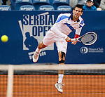 Tenis, Serbia Open 2011.Final.Novak Djokovic (SRB) Vs. Feliciano Lopez (ESP).Novak Djokovic, returns the ball.Beograd, 01.05.2011..foto: Srdjan Stevanovic