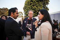 Maharaj Narendra Singh (left) and Princess Diya Kumari of Jaipur (right) speak with Western Australian Polo Team captain Greg Johnson (center) at the high tea event after the Argyle Pink Diamond Cup, organised as part of the 2013 Oz Fest in the Rajasthan Polo Club grounds in Jaipur, Rajasthan, India on 10th January 2013. Photo by Suzanne Lee