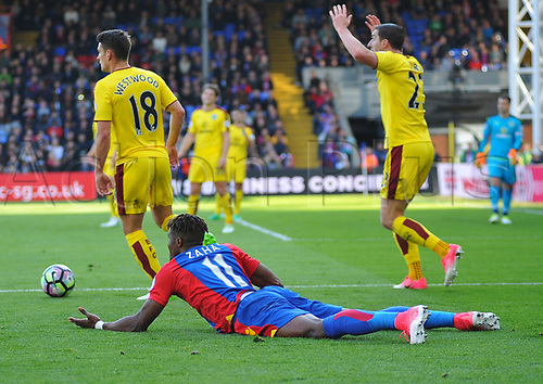 April 29th 2017, Selhurst Park, London England; EPL Premier league football, Crystal Palace versus Burnley; Wilfried Zaha, Midfielder for Crystal Palace appeals for a foul