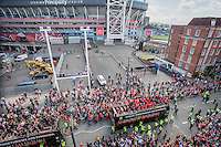 The open top bus of players travels past the Principality Stadium during the Homecoming of the Wales Euro 2016 Squad in Cardiff City Centre, Cardiff. 8 July 2016. Photo by Mark  Hawkins / PRiME Media Images.