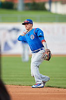 South Bend Cubs second baseman Jhonny Bethencourt (6) throws to first base during the first game of a doubleheader against the Lake County Captains on May 16, 2018 at Classic Park in Eastlake, Ohio.  South Bend defeated Lake County 6-4 in twelve innings.  (Mike Janes/Four Seam Images)