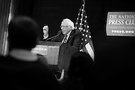 Washington, DC - May 1, 2016: Sen. Bernie Sanders speaks to members of the press at the National Press Club in the District of Columbia, May 1, 2016, to outline his remaining campaign strategy as he trails former Secretary of State Hillary Clinton in the delegate count for the 2016 Democratic presidential nomination.  (Photo by Don Baxter/Media Images International)