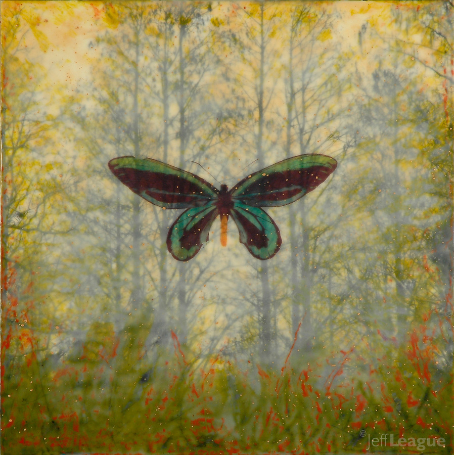 Butterfly and trees encaustic painting with photography SOLD