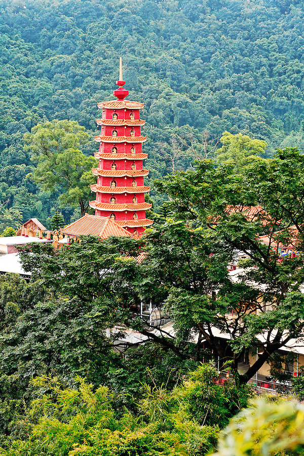 Pagoda of the Monastery at Ten Thousand Buddhas temple, Sha Tin, New Territories, Hong Kong SAR, People's Republic of China, Asia