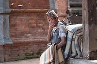 A Newari Man Takes a Rest in Patan, Nepal