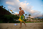 In Hawaiian, this place is known as Pu?u Kaka?a which at one point in ancient times housed a heiau (temple) and is a sacred spot known as ?ka leina a ka ?uhane,? a place were a soul leaps into eternity.  Most evenings a diver from the Sheraton Maui resort dives into the ocean from the rocks after lighting torches to honor the souls of the departed.  This evening, in addition to the torch lighter, a group of locals enjoyed diving off the rocks into the beautiful evening sea.