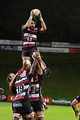Daymon Leasuasu takes uncontested lineout ball for the Steelers. Mitre 10 Cup rugby game between Counties Manukau Steelers and Tasman Mako, played at Navigation Homes Stadium Pukekohe on Friday September 6th 2019. Tasman won the game 36 - 0 after leading 24 - 0 at halftime.<br /> Photo by Richard Spranger.