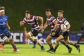 Tim Nanai-Williams with Liam Daniela and Johnathan Kawau. Mitre 10 Cup game between Counties Manukau Steelers and Tasman Mako's, played at ECOLight Stadium Pukekohe on Saturday October 14th 2017. Counties Manukau won the game 52 - 30 after trailing 22 - 19 at halftime. <br /> Photo by Richard Spranger.