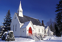 church, NH, New Hampshire, Lancaster, St. Paul Episcopal Church, White church with red doors in the winter