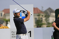 Alexander Levy (FRA) tees off the 1st tee to start his match during Sunday's Final Round of the 2014 BMW Masters held at Lake Malaren, Shanghai, China. 2nd November 2014.<br /> Picture: Eoin Clarke www.golffile.ie
