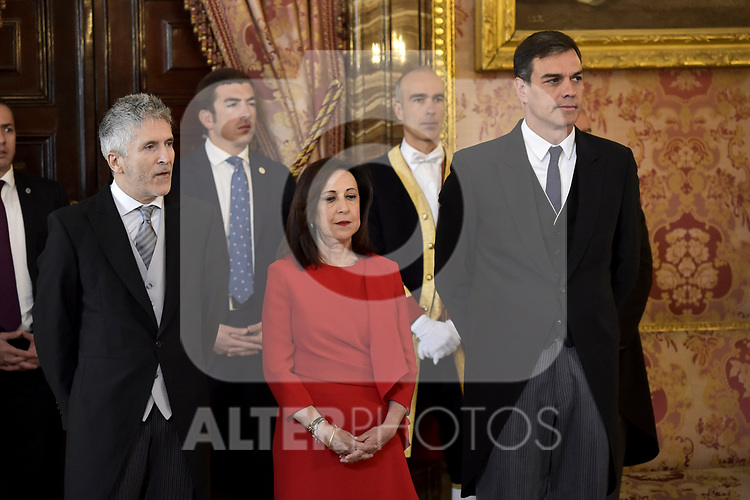 Fernando Grande-Marlaska, Margarita Robles and Pedro Sanchez attends to Pascua Militar at Royal Palace in Madrid, Spain. January 06, 2019. (ALTERPHOTOS/Pool)