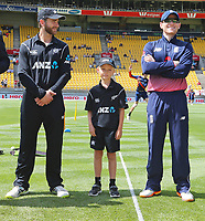 ANZ coin toss kid, Braith with Blackcaps captain Kane Williamson & England captain Eoin Morgan during the third ODI cricket match between the Blackcaps & England at Westpac stadium, Wellington. 3rd March 2018. © Copyright Photo: Grant Down / www.photosport.nz