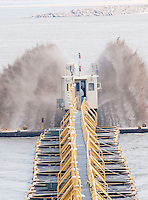 {8/24/12} {10pmCST} -JOB # 42286- Greenville , MS, U.S.A. --The Dredge JADWIN, of the US Army Corp of Engineers, begins dredging a stretch of the Mississippi River 7miles downriver from Greenville MS. where the Army Corp of Engeineers is dredging the river to keep it open to tug boat traffic.Pictured is a 1000 foot pipeline to carry out the sludge.  Sandbars creep up as the water level drops on the Mississippi River makeing navigating the Mississippi River difficult for tug boat captains Ron Mook , Friday August 24,2012. Historically low river levels on the Mississippi River are causing havoc on river traffic: grounding barges loaded with grain and fertilizer, traffic jams several miles long and forcing the Coast Guard to close down chunks of the river due to groundings. The area around Greenville, Miss., has closed three times the past week due to groundings. Last year, there were five total groundings the entire low-water season. Locals who fought historic high-water floods last year are this year engaged in a different fight: keeping barges afloat on a vanishing Mississippi.  -- Photo by Suzi Altman, Freelance.