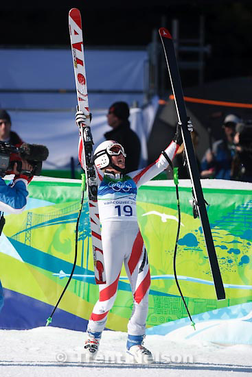 Trent Nelson     The Salt Lake Tribune.Andrea Fischbacher, Austria, gold medalist, Ladies' Super-G, at the XXI Olympic Winter Games in Whistler, Saturday, February 20, 2010.
