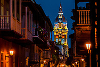 Catedral de Santa Catalina de Alejandría (the Cathedral of Saint Catherine of Alexandria) is seen enlightened during the twilight in Cartagena, Colombia, 11 December 2017. With the peace agreement, ending a 52-year civil conflict and promising political stability, together with rapid economic growth and unexploited tourism potential, Colombia has truly become a holiday destination. Cartagena, a UNESCO World Heritage site on the tropical Caribbean coast, plays the primary role in Colombia's tourism renaissance. The historic sites from the Spanish colonial times are being restored, private investments are visible throughout the city and an increased number of local people benefit from the boom of the travel related services.