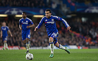 Pedro of Chelsea heads forward during the UEFA Champions League Round of 16 2nd leg match between Chelsea and PSG at Stamford Bridge, London, England on 9 March 2016. Photo by Andy Rowland.